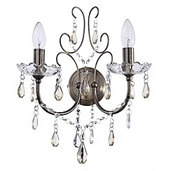 Litecraft - Madonna 2 Light Antique Brass Wall Light