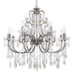Litecraft - Madonna 12 light dual mount antique Brass chandelier