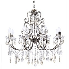 Litecraft - Madonna 8 Light Dual Mount Antique Brass Chandelier