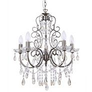 Madonna 5 Light Dual Mount Antique Brass Chandelier