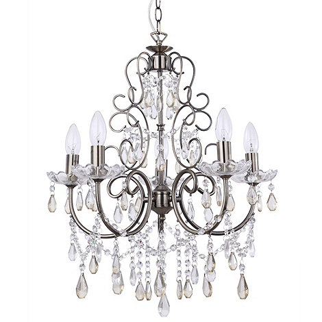 Litecraft - Madonna 5 Light Dual Mount Antique Brass Chandelier