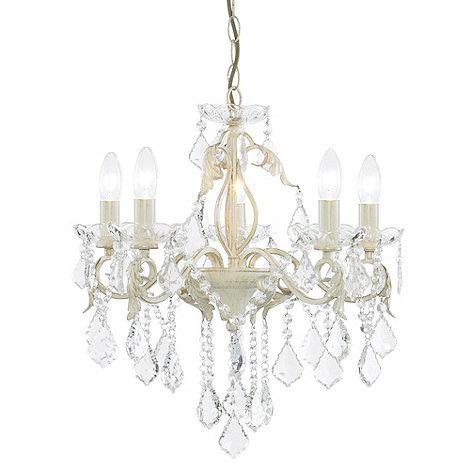 Litecraft - Romeo 5 Light Cream and Gold Dual Mount Chandelier