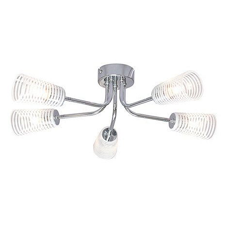 Litecraft - Humbug 5 Light Chrome Ceiling Light with Glass Shades