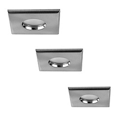 Litecraft - 3 Pack Quadratus Satin Nickel Square Bathroom Downlights