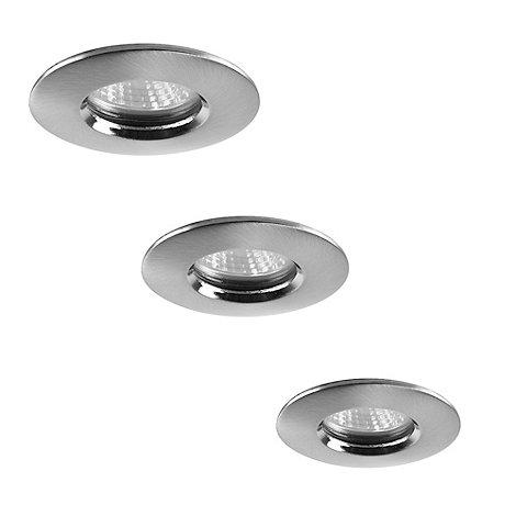 Litecraft - 3 Pack Niccolo Satin Nickel bathroom down lights