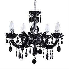 Litecraft - Marie Therese 5 light black dual mount chandelier