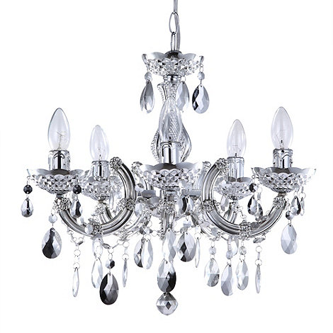Litecraft - Marie Therese 5 light silver dual mount chandelier