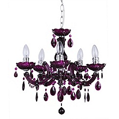 Litecraft - Marie Therese 5 light  plum dual mount chandelier