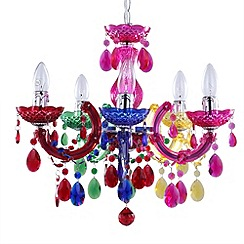 Litecraft - Marie Therese 5 light multicoloured dual mount chandelier