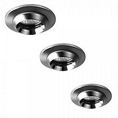 Litecraft - 3 Pack Orbis Satin Nickel flared cowl bathroom downlights