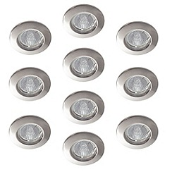 Litecraft - 10 pack recessed Satin Chrome downlights with halogen bulbs