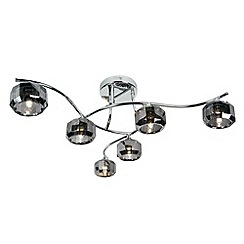 Litecraft - Sammi 6 Light Flush Ceiling Light - Chrome