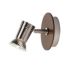 Litecraft - Gareeva 1 light spotlight Satin Chrome & wood finish wall light