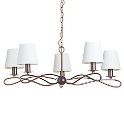 Litecraft - Gales pendant Copper chandelier with Ivory shades