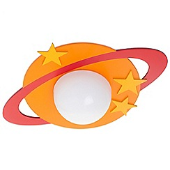 Litecraft - Children's Ring Planet 1 Light Flush Ceiling Light - Orange