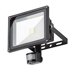 Litecraft - 30 Watt Outdoor LED Black floodlight with PIR sensor
