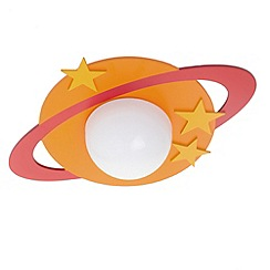 Litecraft - Childrens Ring Planet 1 Light Flush Ceiling Light - Orange