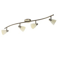 Litecraft - 4 Light ceiling Antique Brass spotlight bar with adjustable spotlights