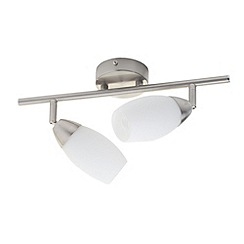Litecraft - 2 Light ceiling Satin Chrome spotlight bar