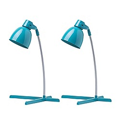 Litecraft - 2 Pack of Timmy 1 Light Task Lamp - Teal