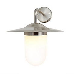 Litecraft - Leith Outdoor Station Lantern Style Wall Light - Stainless Steel