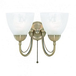 Litecraft - Barcelona 2 Light Wall Light - Antique Brass With LED Bulbs