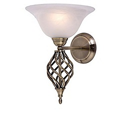 Litecraft - Spiral 1 Light Wall Light - Antique Brass With LED Bulbs