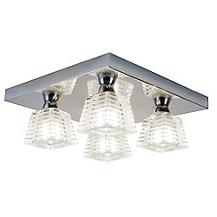 Litecraft - Pyxis K9 Glass 4 Light Bathroom Ceiling Light With LED Bulbs