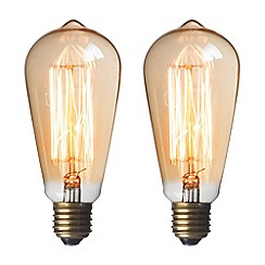 Litecraft - 2 Pack of Squirrel Cage 35 Watt E27 ES Edison Screw Light Bulb - Gold Tinted