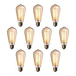 Litecraft - 10 Pack of Squirrel Cage 35 Watt E27 ES Edison Screw Light Bulb - Gold Tinted