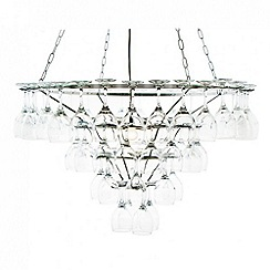 Litecraft - 4 Tier Wine Glass Chandelier - Silver