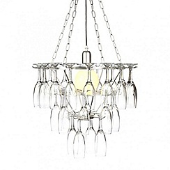 Litecraft - 3 Tier Champagne Flute Glass Chandelier - Silver