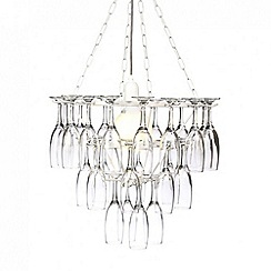 Litecraft - 3 Tier Champagne Flute Glass Chandelier - White