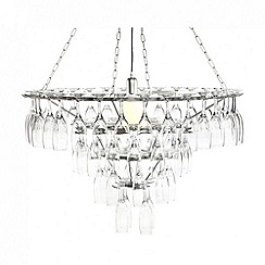 Litecraft - 4 Tier Champagne Flute Glass Chandelier - Silver