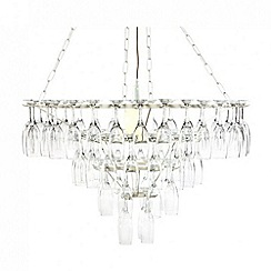 Litecraft - 4 Tier Champagne Flute Glass Chandelier - White
