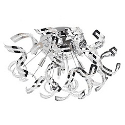 Litecraft - Twirl 6 light semi flush Chrome ceiling light
