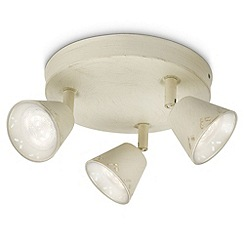 Litecraft - Philips myliving idyllic 3 light led Rustic White ceiling spotlight plate