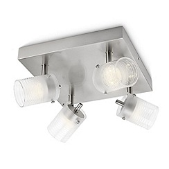 Litecraft - Philips Toile 4 Light LED Glass Ceiling Spotlight Plate - Aluminium