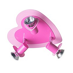 Litecraft - Children's heart 3 light  Pink ceiling spotlight plate