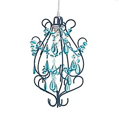 Litecraft - Flocked 1 Light Curved Easy to Fit Pendant - Aqua