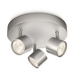 Litecraft - Philips star 3 light led Aluminium ceiling spotlight plate