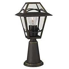 Litecraft - Philips Babylon outdoor lantern pedestal light in Rustic Black