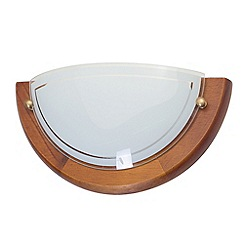 Litecraft - Fergie 1 light crescent  Dark wood & Opal glass wall light