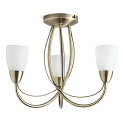 Litecraft - Madrid 3 light semi flush antique Brass ceiling light