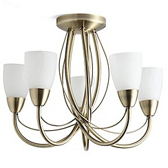 Litecraft - Madrid 5 light semi flush antique Brass ceiling light