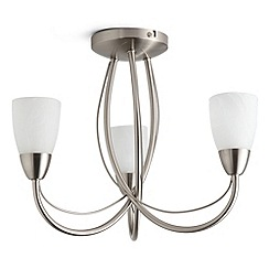 Litecraft - Madrid 3 light semi flush Satin Nickel ceiling light