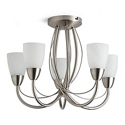 Litecraft - Madrid 5 light semi flush Satin Chrome ceiling light