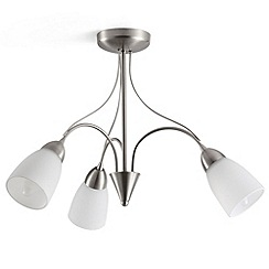 Litecraft - Amelia 3 light semi flush  Satin Chrome ceiling light
