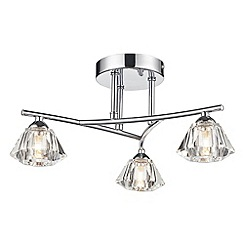 Litecraft - Jewel 3 light Chrome flush chrome ceiling light with diamond shape shades