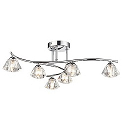Litecraft - Jewel 6 light Chrome flush with diamond shape shades
